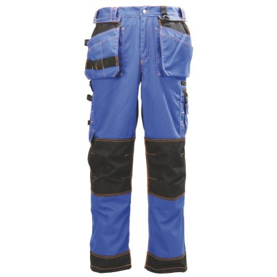 Pantalon coton/polyester bleu/noir
