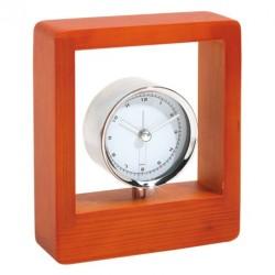 Horloge chromée socle bois