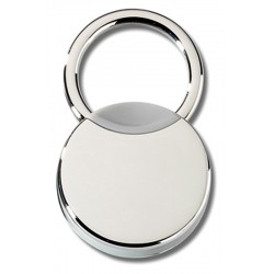 PORTE CLES METAL BI-COLOR CHROME ET GRIS