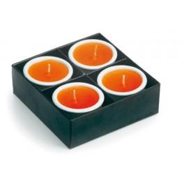 Coffret de 4 bougie colorées avec bougeoir céramique
