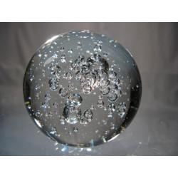 Presse papier rond en verre transparent, boule avec bulle