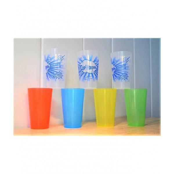 gobelet cup 30 cl plastique r utilisable personnalis 1 couleur. Black Bedroom Furniture Sets. Home Design Ideas