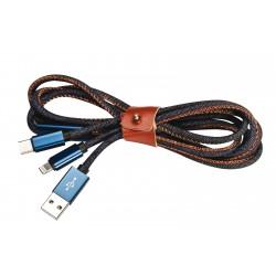 Câble USB chargement en jean multi-connexions