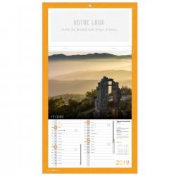 Bloc calendrier illustré agrafé 12 paysages de France